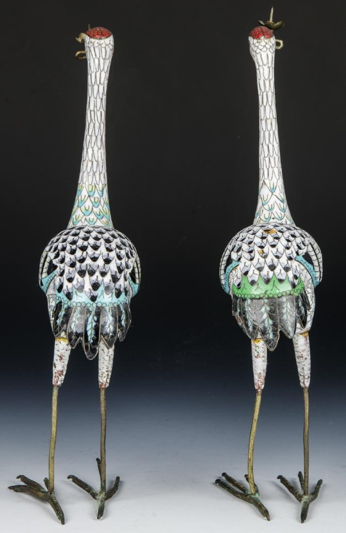 Pair of Chinese Cloisonne Enamel Crane Candlesticks - 3