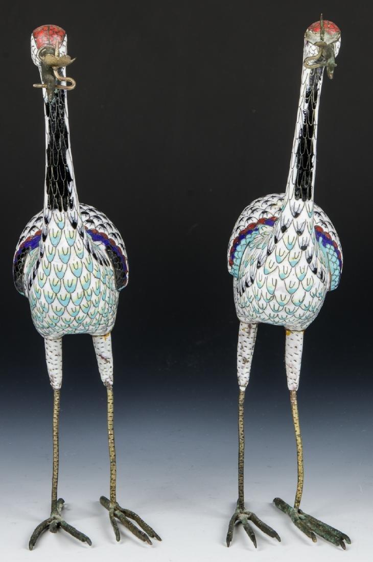 Pair of Chinese Cloisonne Enamel Crane Candlesticks - 5