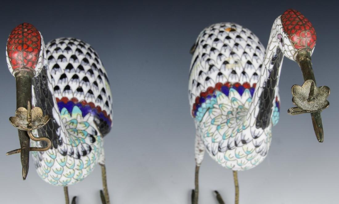 Pair of Chinese Cloisonne Enamel Crane Candlesticks - 6