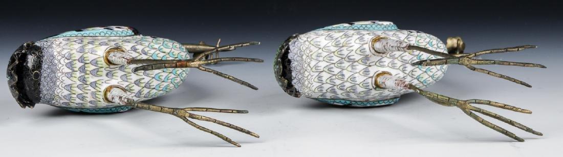 Pair of Chinese Cloisonne Enamel Crane Candlesticks - 8