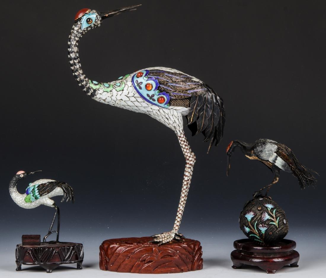 3 Fine Chinese Cranes - 4