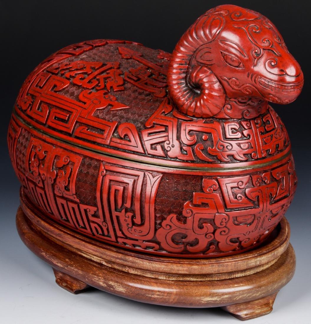 Chinese Cinabar Ram Box