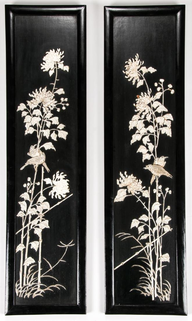 Chinese Screen with Carved Bas Relief Composite Flowers