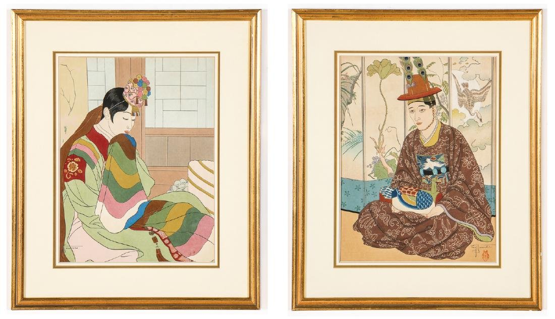 Paul Jacoulet (1902-1960) 2 Woodblock Prints