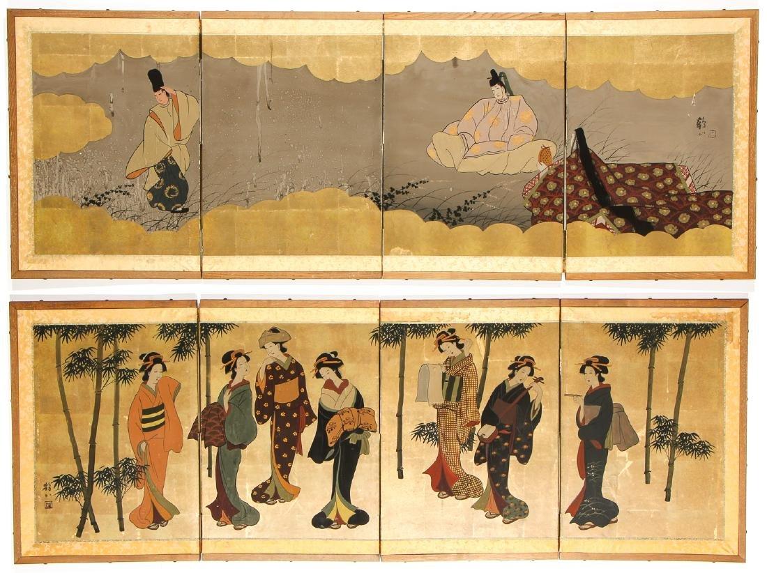 Pair of Japanese 4 Panel Folding Screens