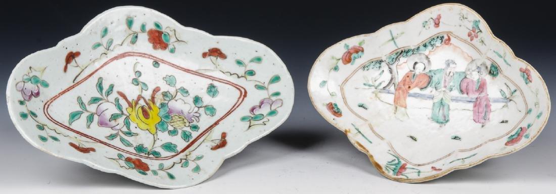 2 Chinese Enamel Decorated Export Porcelain Dishes