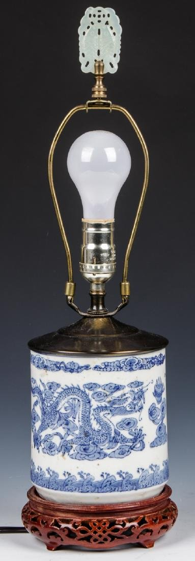 Chinese Blue and White Porcelain Dragon Lamp