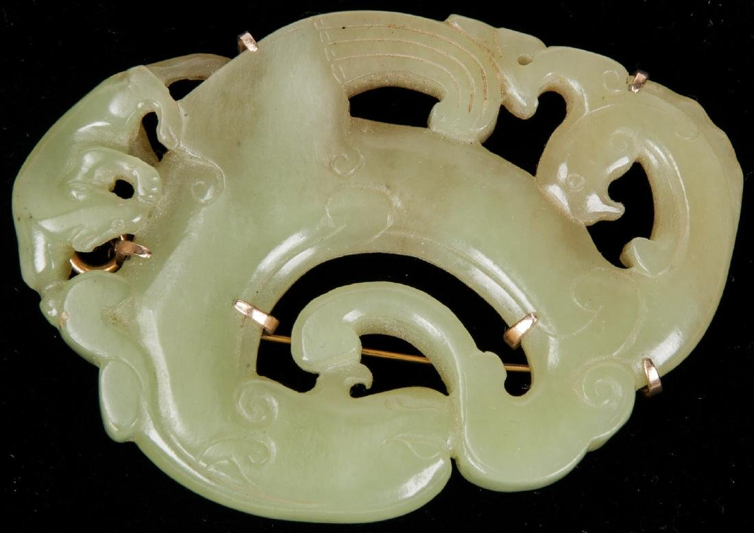 Chinese Carved Jade or Hardstone Brooch
