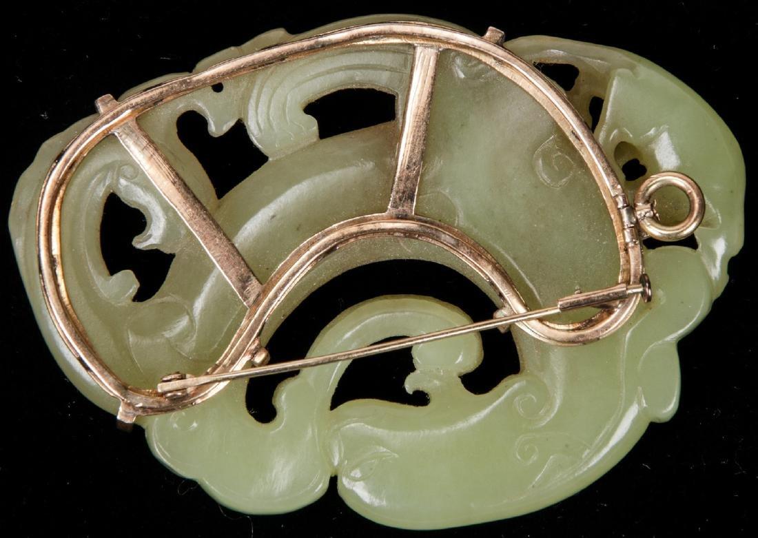 Chinese Carved Jade or Hardstone Brooch - 2