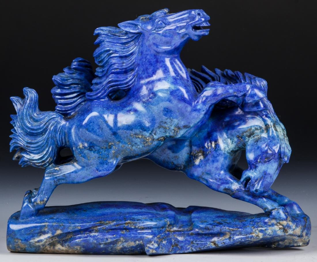 Chinese Carved Lapis Lazuli Statue of Galloping Horses