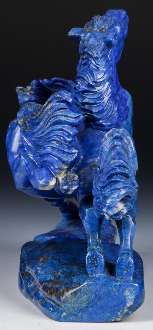 Chinese Carved Lapis Lazuli Statue of Galloping Horses - 3