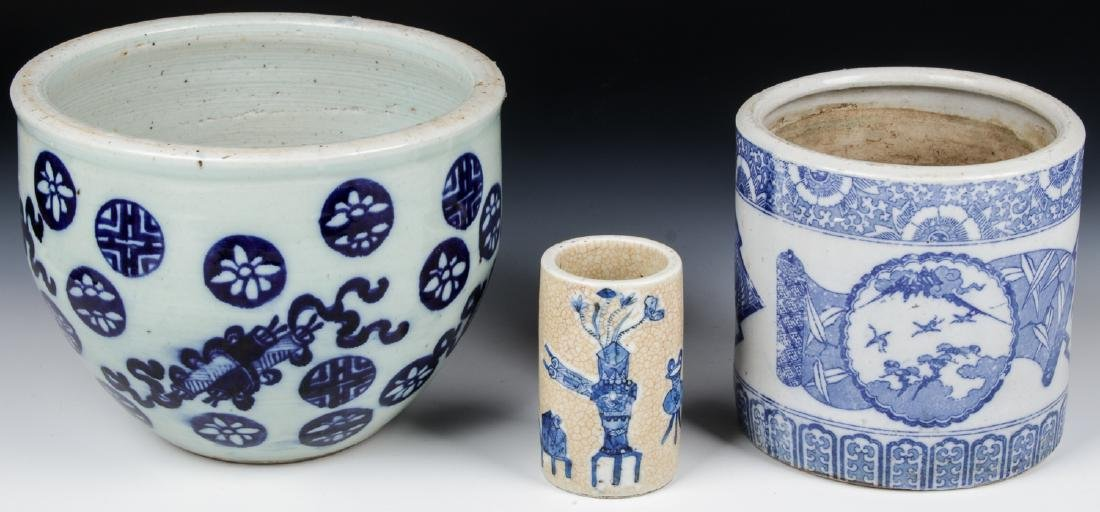 3 Chinese Blue and White Vases