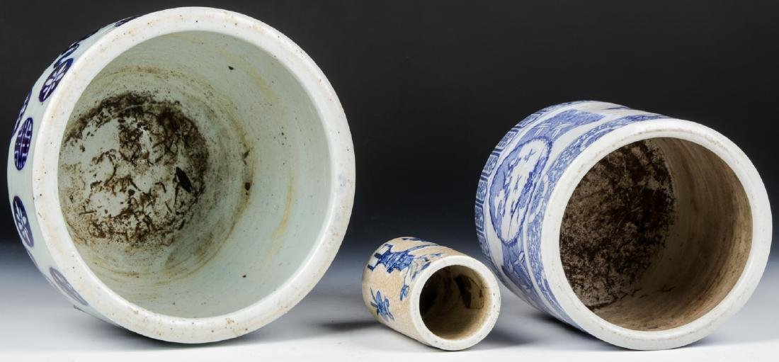 3 Chinese Blue and White Vases - 5