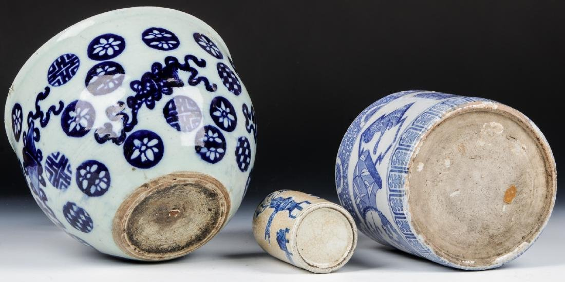 3 Chinese Blue and White Vases - 6