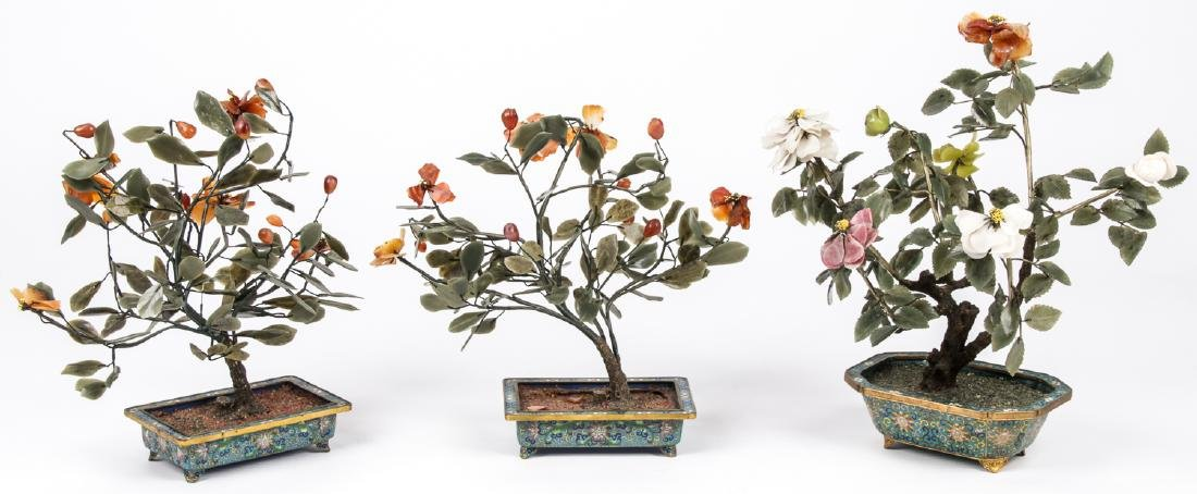 3 Chinese Jade and Hardstone Trees in Cloisonne