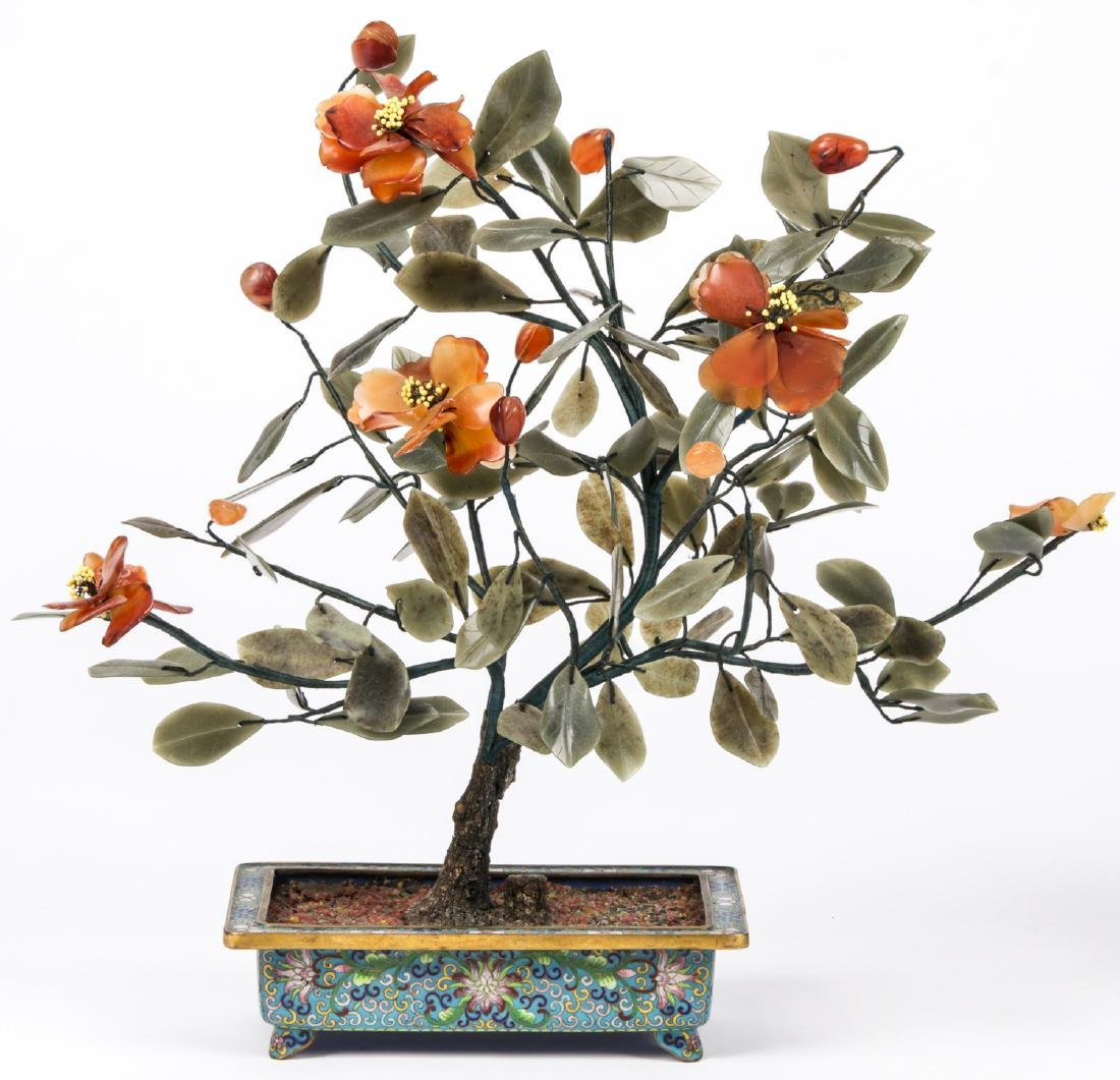 3 Chinese Jade and Hardstone Trees in Cloisonne - 2