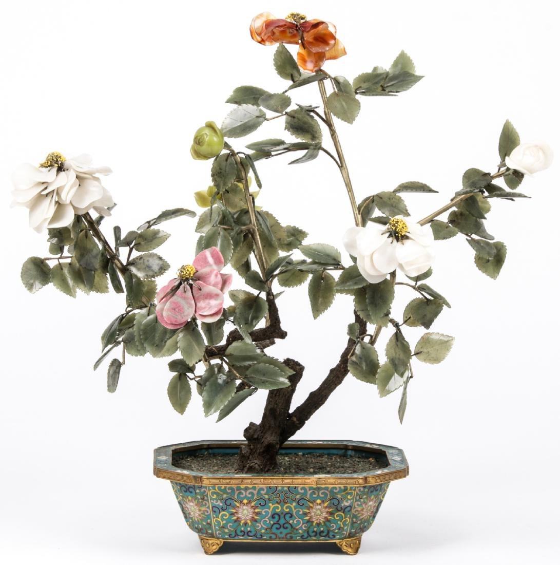 3 Chinese Jade and Hardstone Trees in Cloisonne - 3