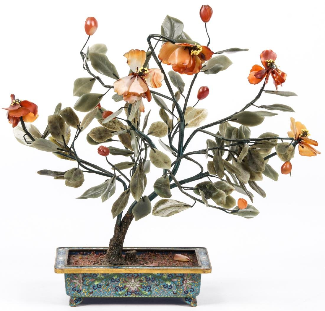 3 Chinese Jade and Hardstone Trees in Cloisonne - 4