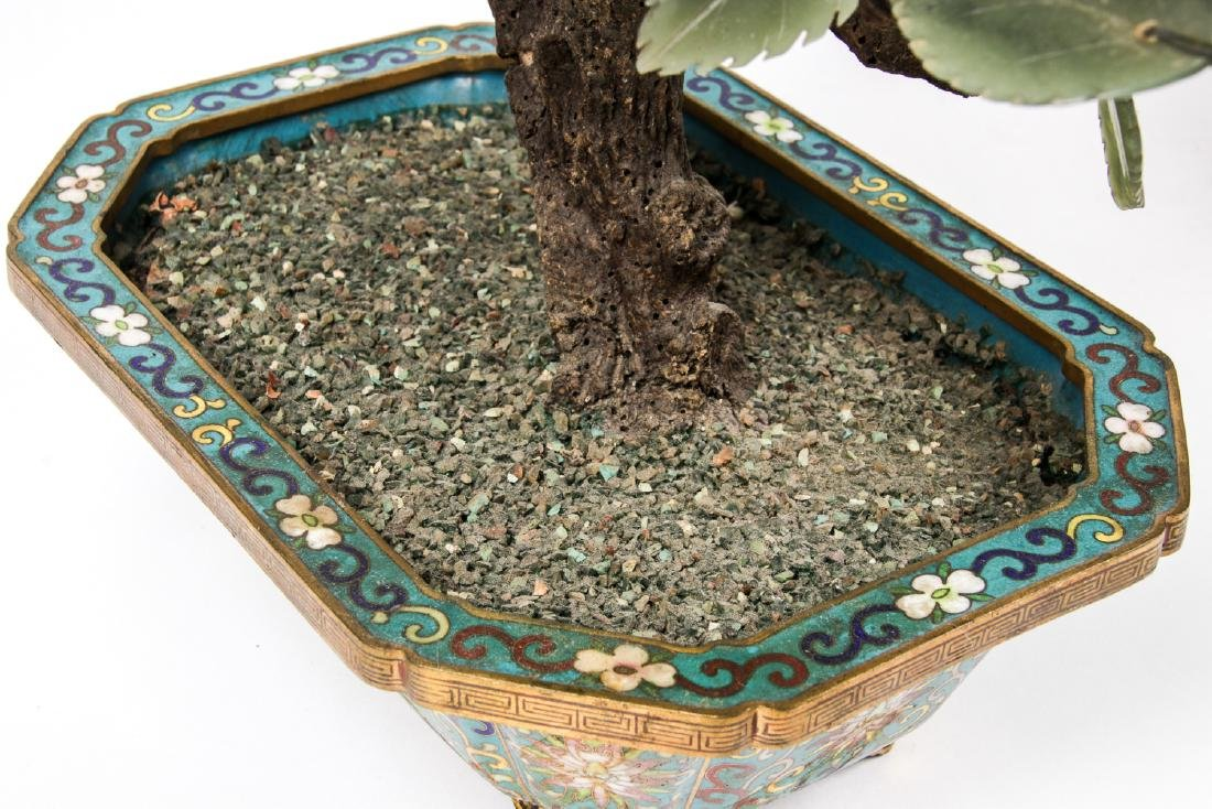 3 Chinese Jade and Hardstone Trees in Cloisonne - 7