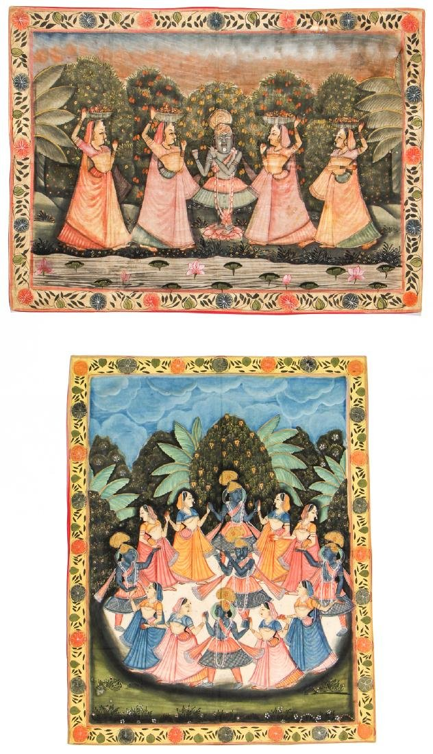Two Old Pichwai Paintings on Cloth, India