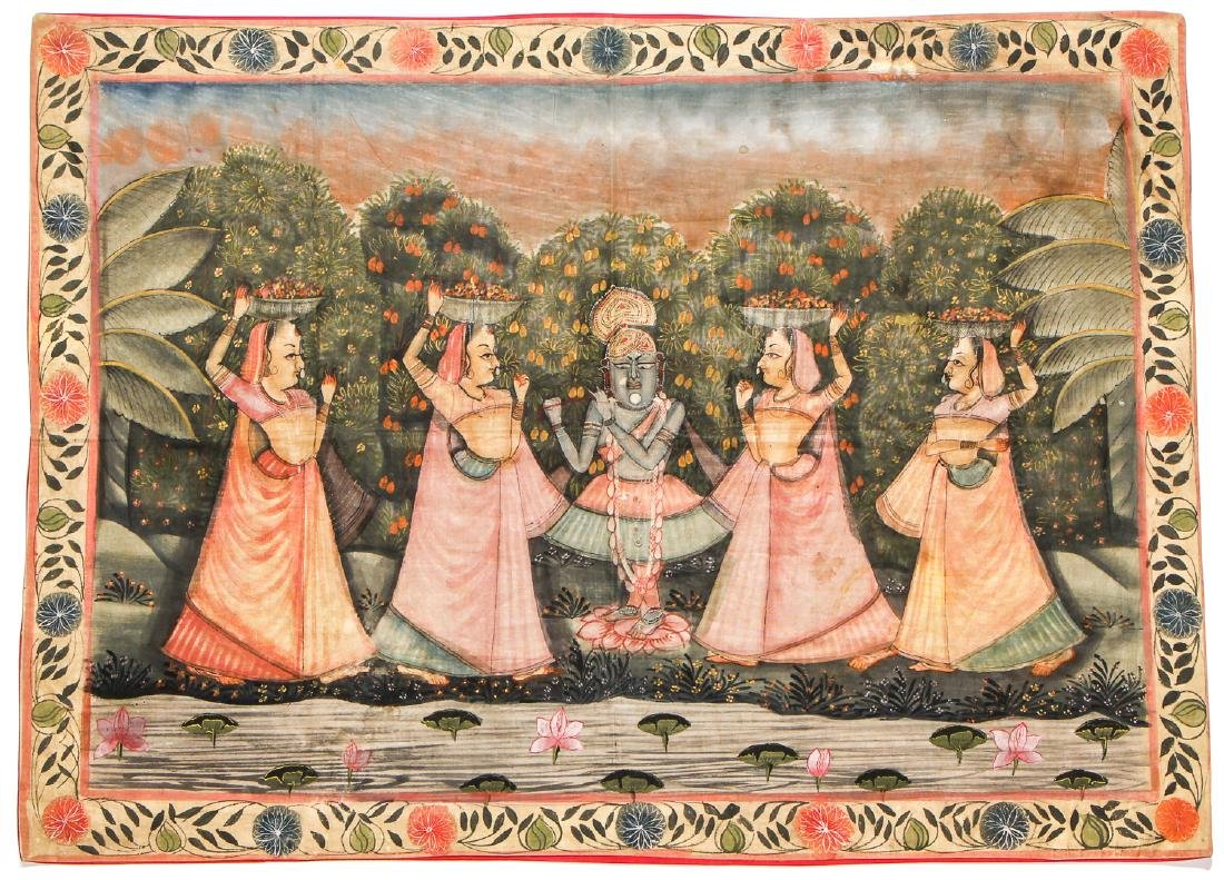 Two Old Pichwai Paintings on Cloth, India - 2