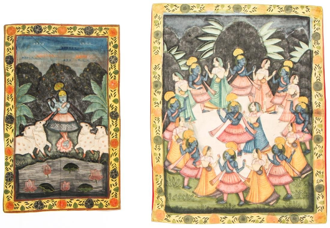 Collection of 5 Old Pichwai Paintings on Cloth, India - 2