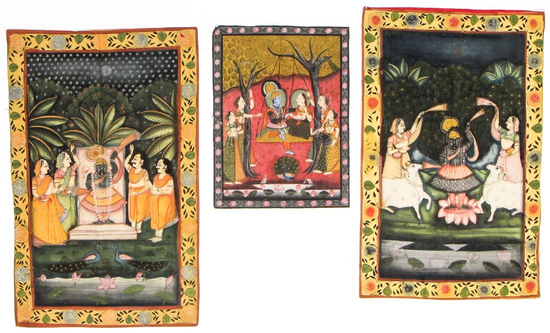 Collection of 5 Old Pichwai Paintings on Cloth, India - 3