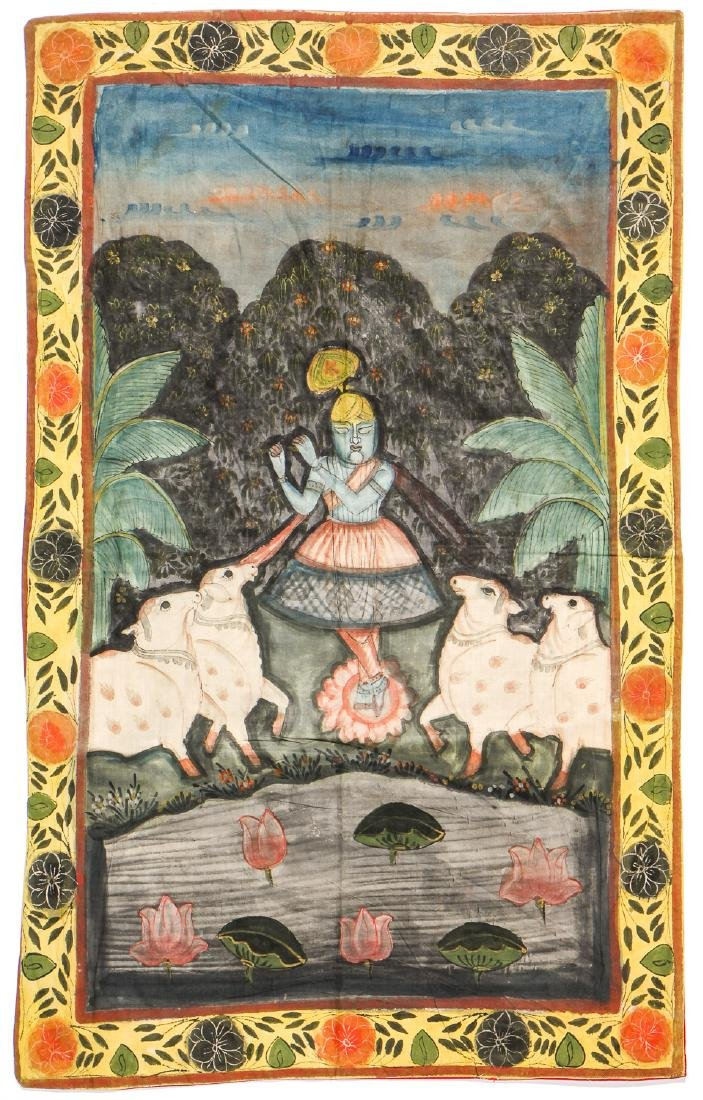 Collection of 5 Old Pichwai Paintings on Cloth, India - 4