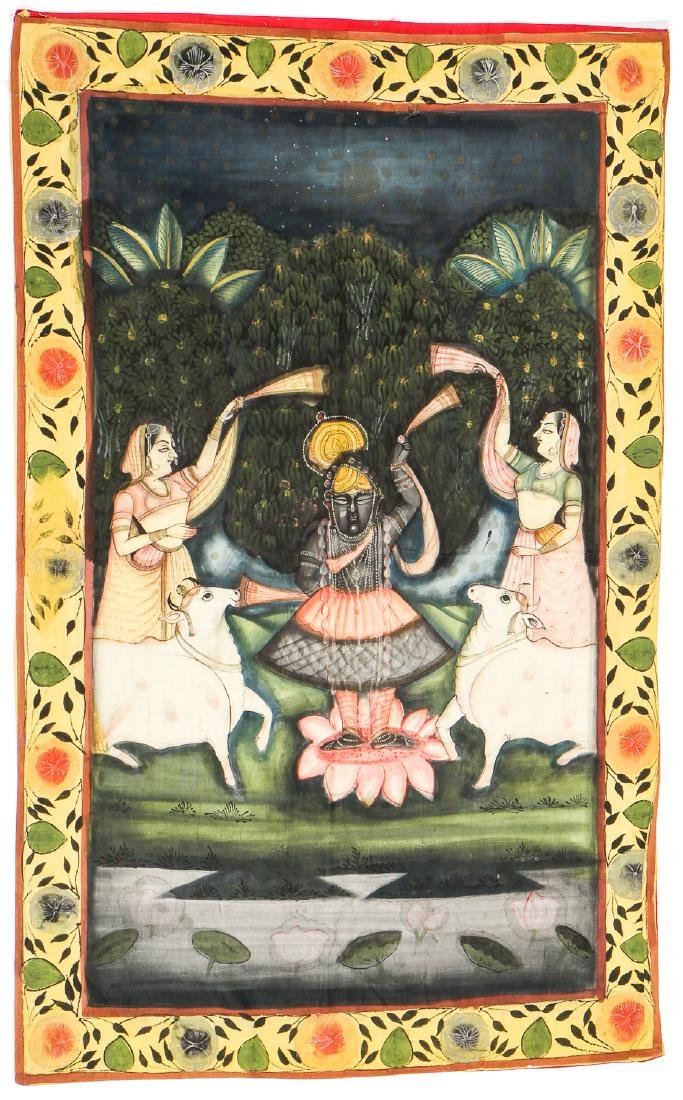 Collection of 5 Old Pichwai Paintings on Cloth, India - 8