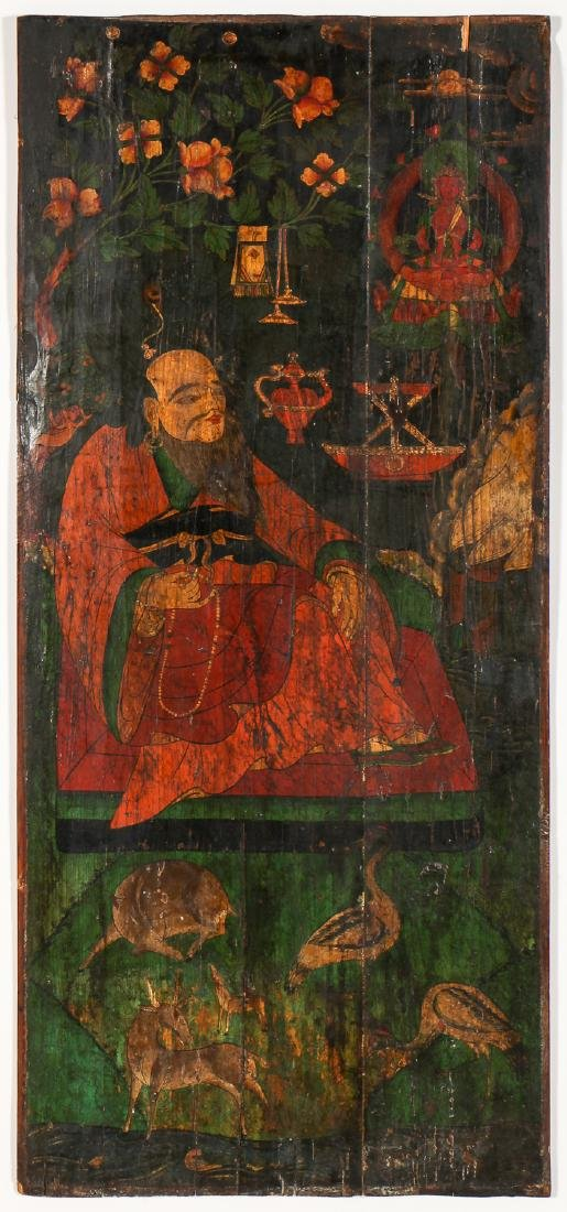 Old Chinese Painted Wood Panel