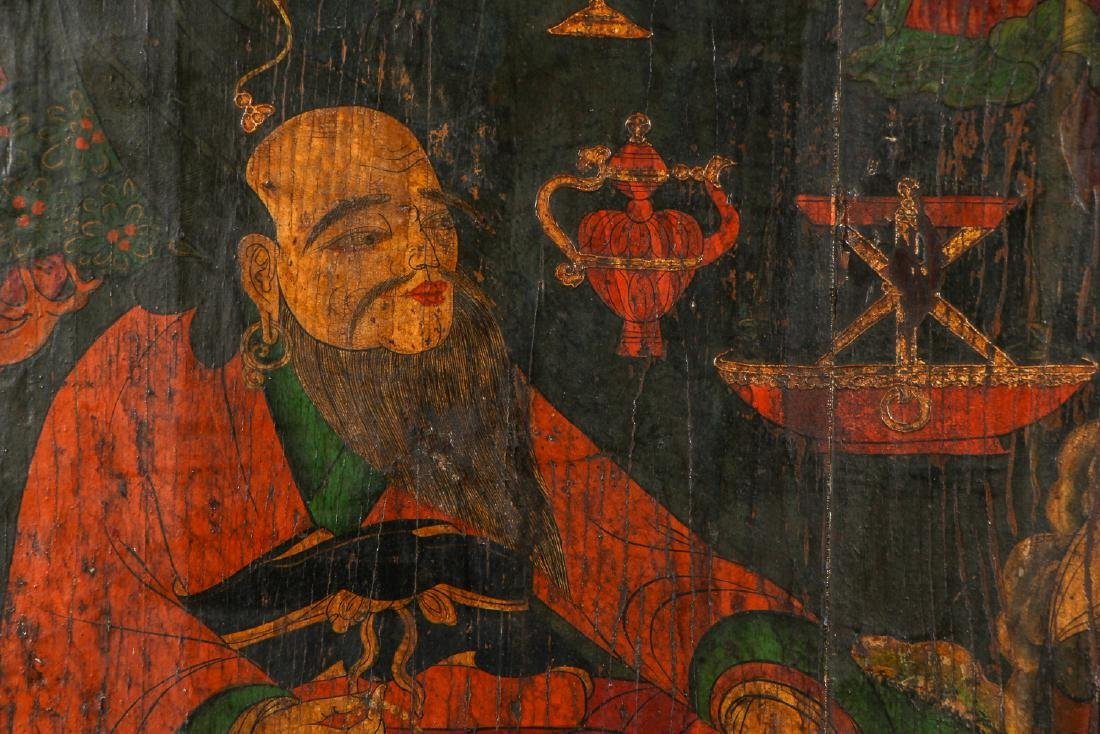Old Chinese Painted Wood Panel - 2