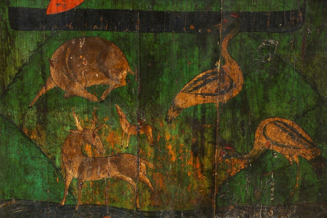 Old Chinese Painted Wood Panel - 4
