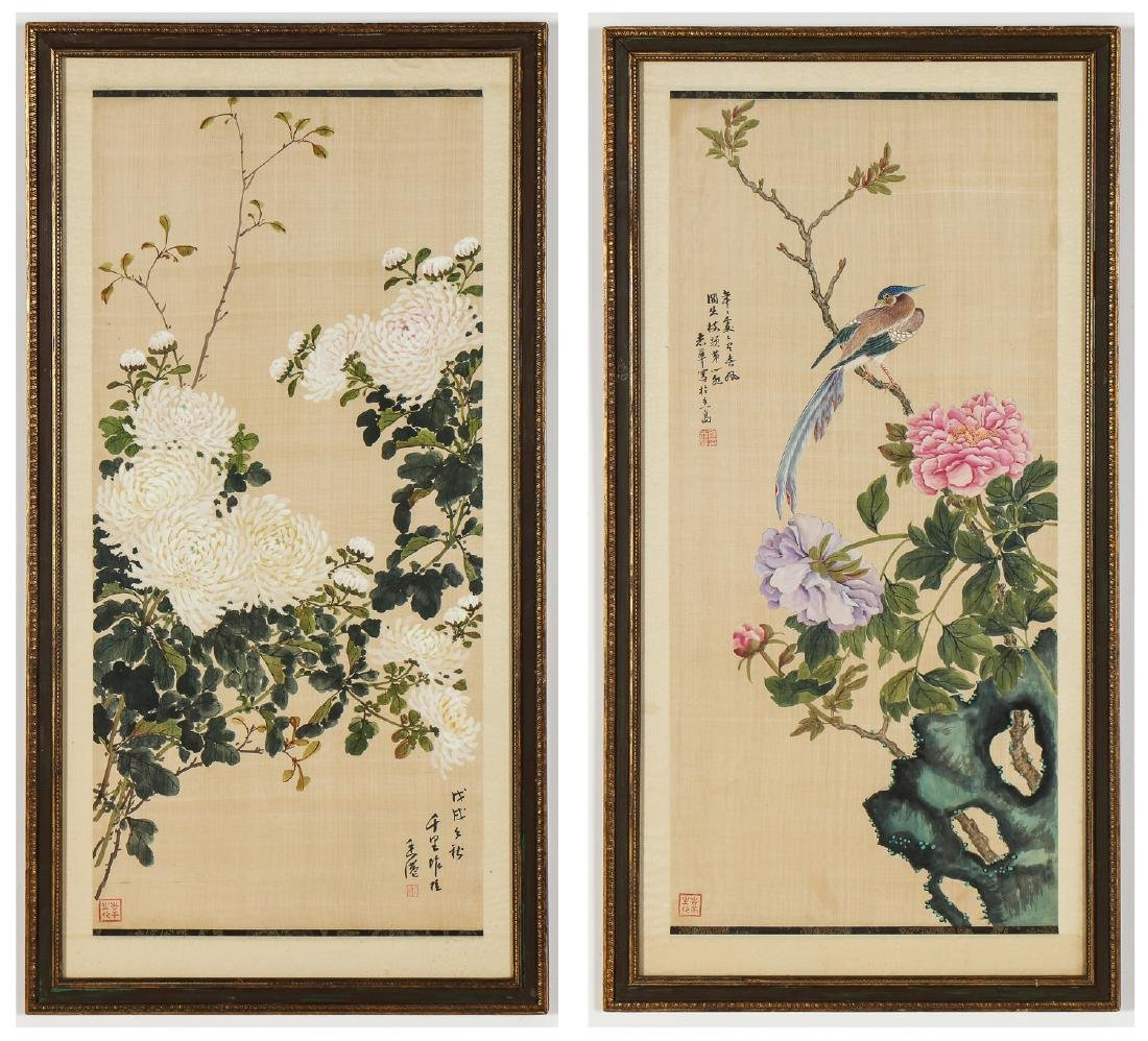 Pair of Chinese (20th c.) Paintings on Silk