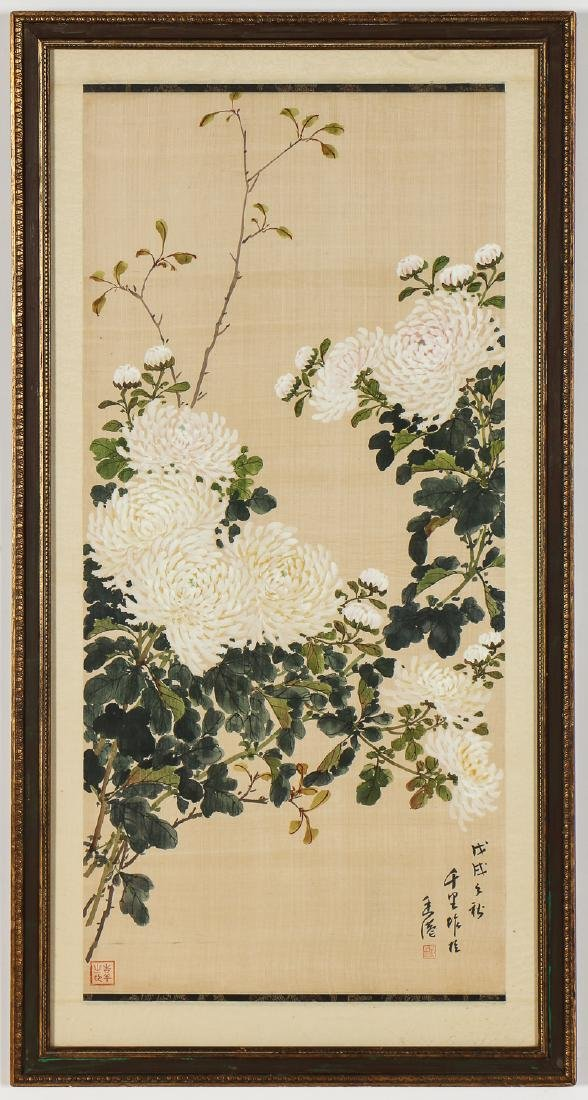 Pair of Chinese (20th c.) Paintings on Silk - 2