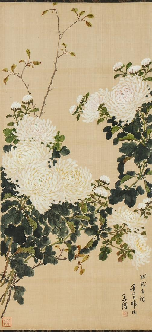 Pair of Chinese (20th c.) Paintings on Silk - 3
