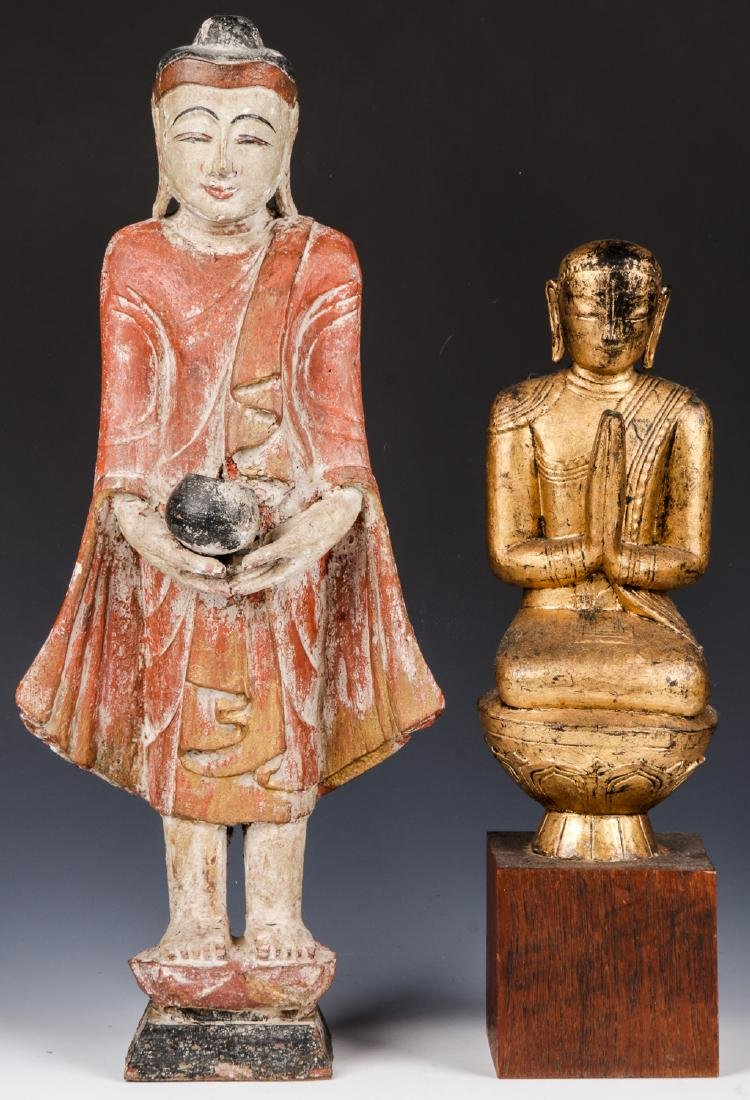Estate Collection of 4 Carved Wood Buddha Figures - 2