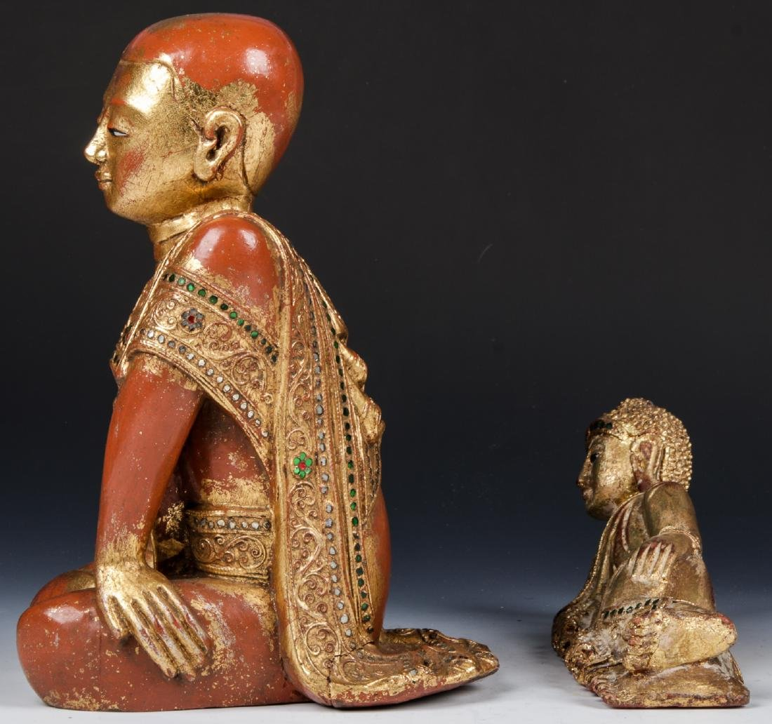 Estate Collection of 4 Carved Wood Buddha Figures - 8