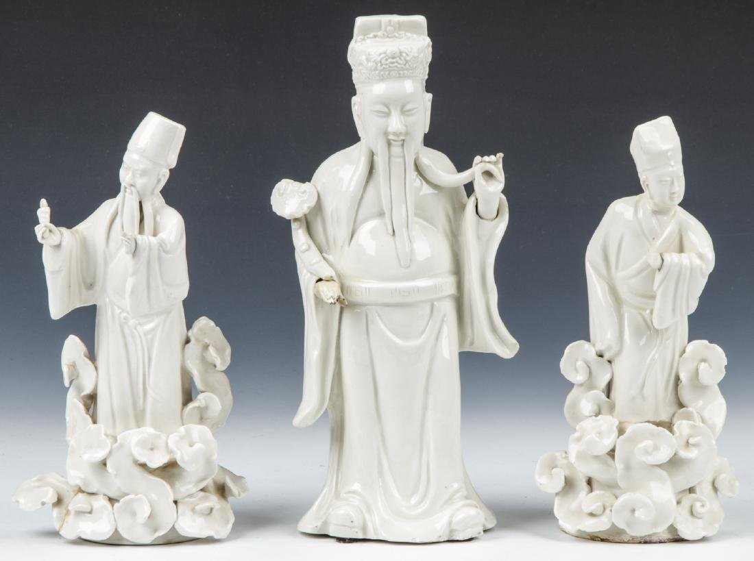 3 Chinese Blanc de Chin Figures