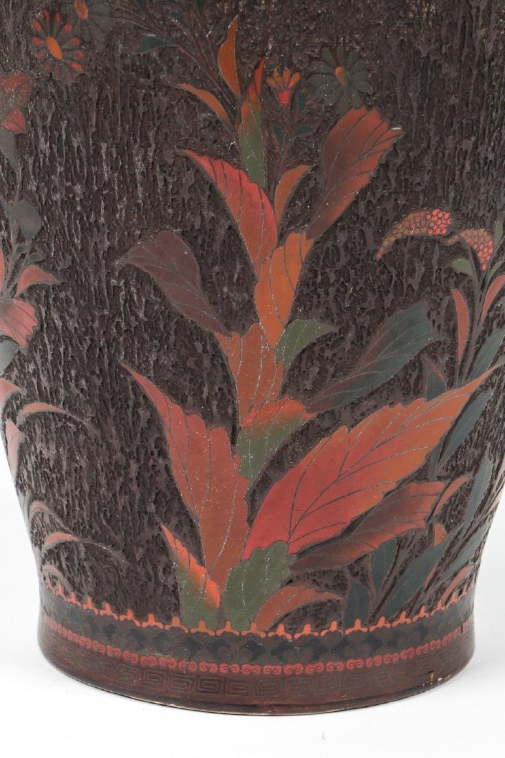 Antique Japanese Jiki-shippo Tree Bark Enamel Cloisonne - 5