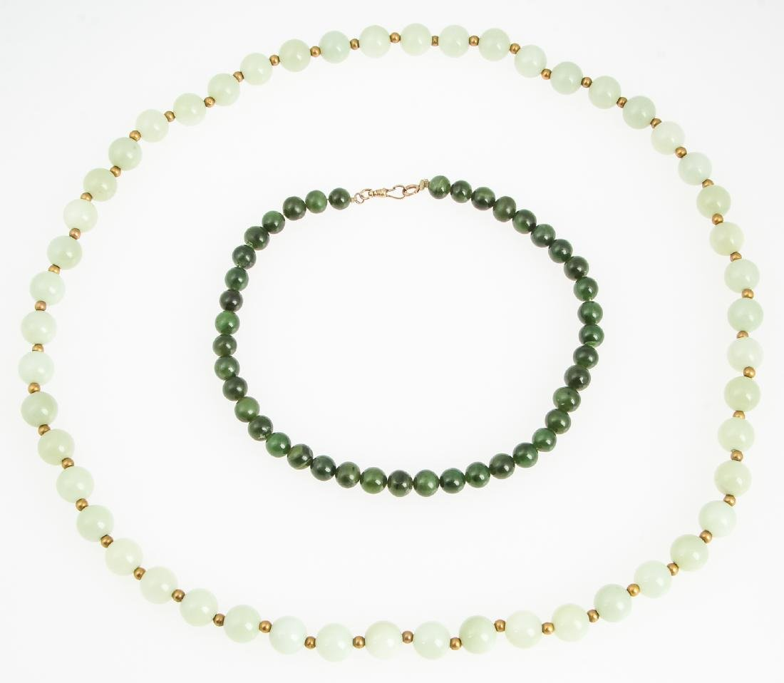 2 Chinese Jade or Hardstone Beaded Necklaces