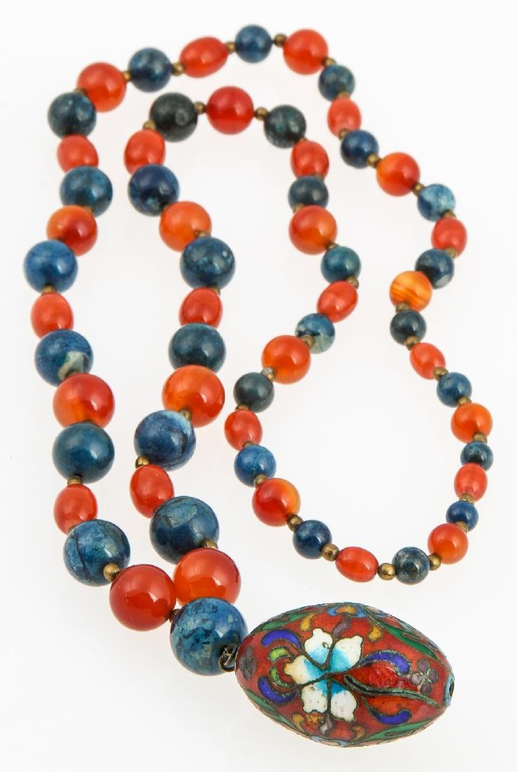 Hardstone Bead Necklace with cloisonne pendant