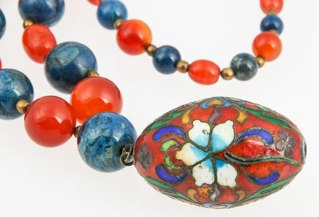 Hardstone Bead Necklace with cloisonne pendant - 2