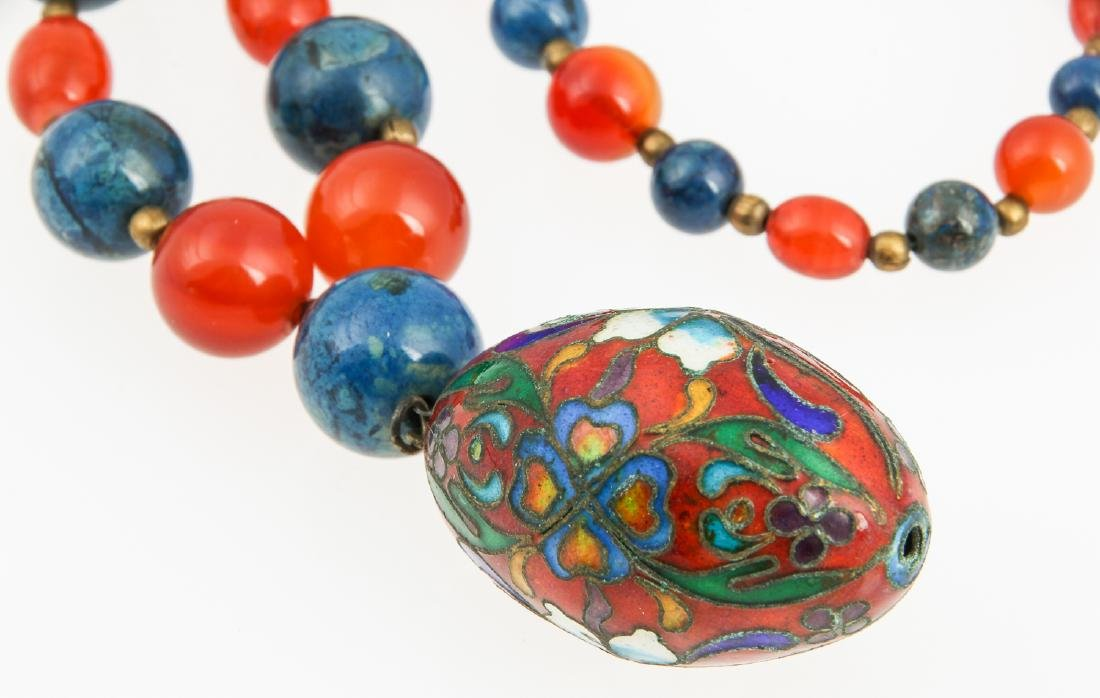 Hardstone Bead Necklace with cloisonne pendant - 3