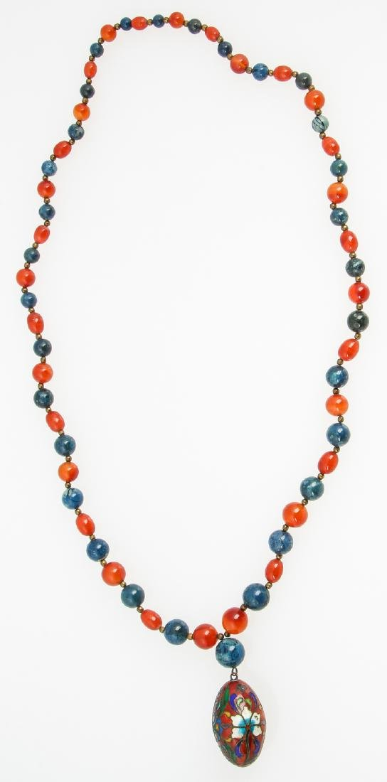 Hardstone Bead Necklace with cloisonne pendant - 4