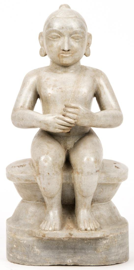 Antique Marble Carving of Seated Jain Mahavira, India