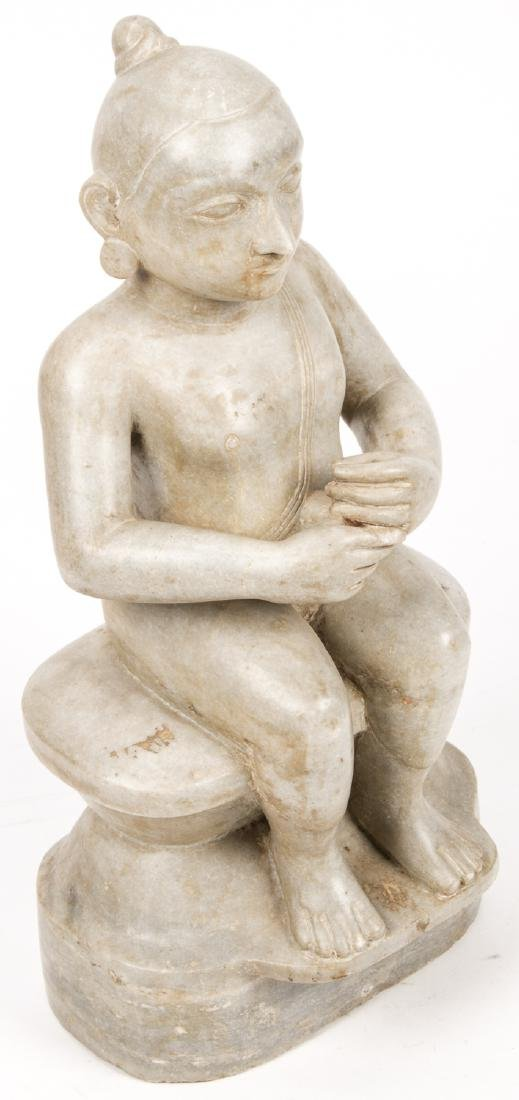 Antique Marble Carving of Seated Jain Mahavira, India - 2