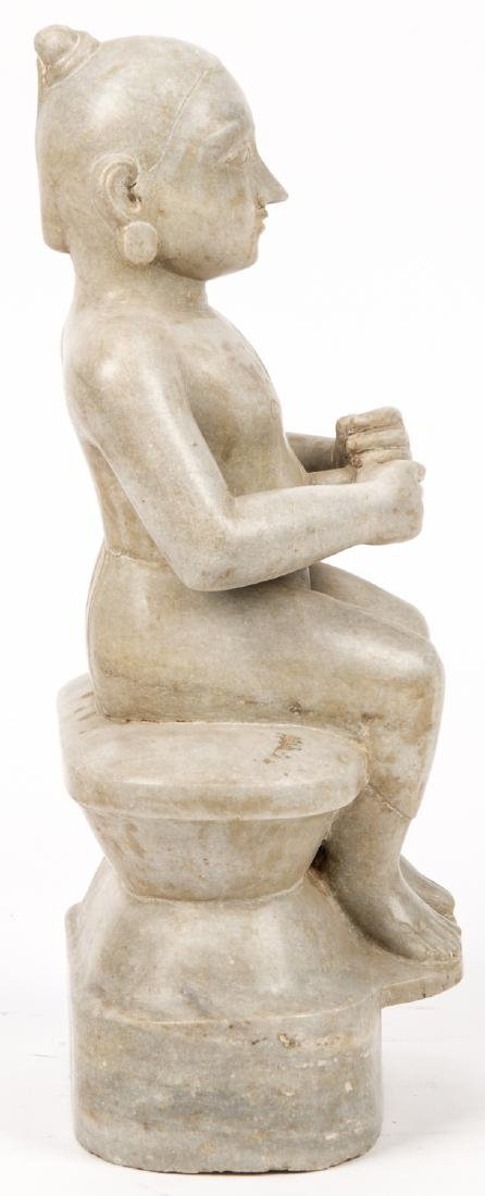 Antique Marble Carving of Seated Jain Mahavira, India - 3
