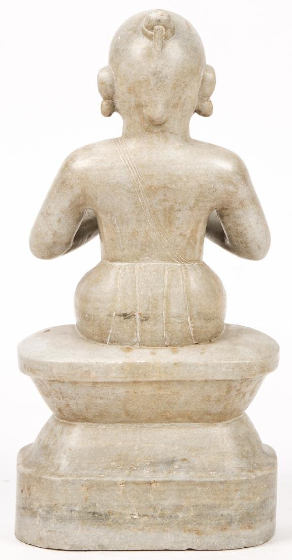 Antique Marble Carving of Seated Jain Mahavira, India - 4