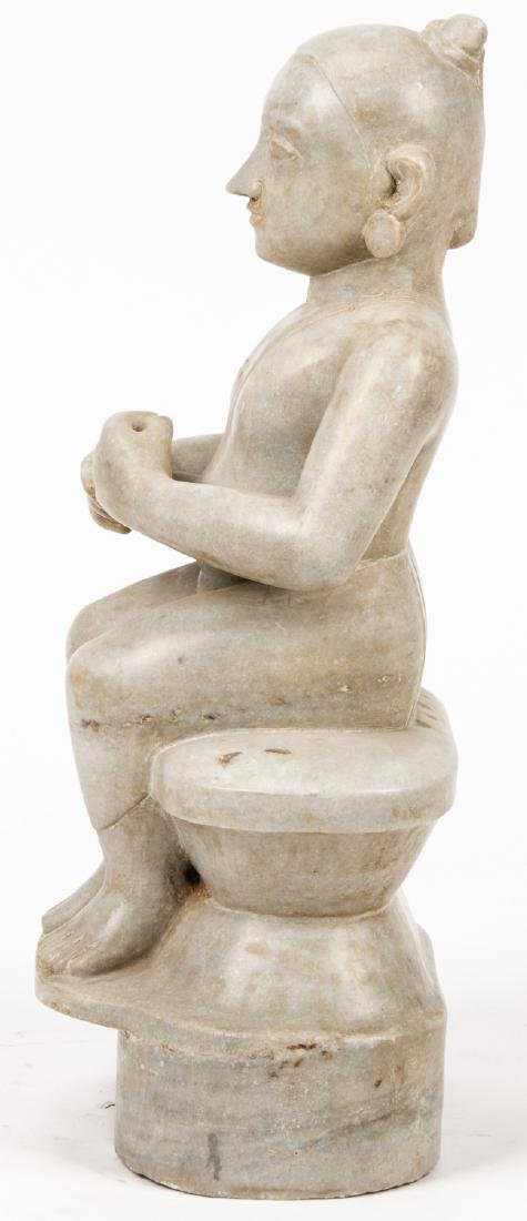 Antique Marble Carving of Seated Jain Mahavira, India - 5