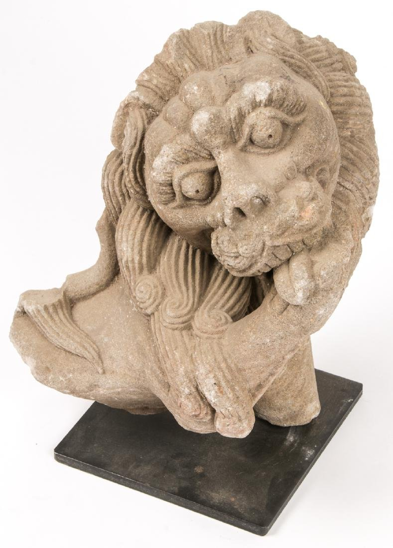 Large Ancient Carved Stone Bust of a Lion, India